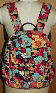 Vera Bradley Campus Backpack Happy Snails Floral Quilted Bag Purse 15 X 15 X 5 #VeraBradley #Backpack