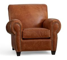 Manhattan Leather Armchair and Ottoman with Bronze Nailheads, Polyester Wrapped Cushions, Vintage Cognac