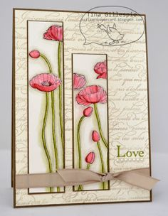 handmade card: Just Add Ink: JAI#155 - Sketch Challenge ... long stemmed poppies on tall thin panels ... Stampin' Up!