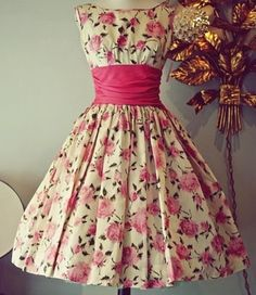pink floral 1950s style dress for jb  Soooo cute for southern belle/tea party style shower