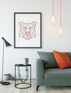 geometric bear embroidery pattern #wallart #anleitung #embroidery