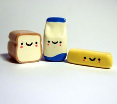 Loaf of Bread, a container of milk and a stick of butter- Kawaii style