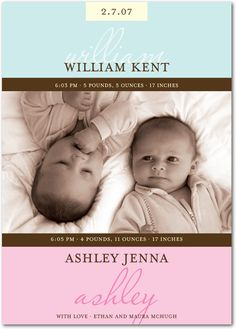 twin birth announcements - Google Search