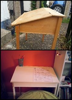 Before and after old school desk for my son's room. Desk cost from the charity shop :) Old School Desks, Charity Shop, Table, Room, Furniture, Home Decor, Bedroom, Decoration Home, Room Decor