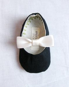 Navy with White bow baby flats