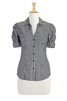 Gingham check cotton shirt STYLE # CL0027319 (eShakti - Original Price: $64.95, Sale Price: $32.95)