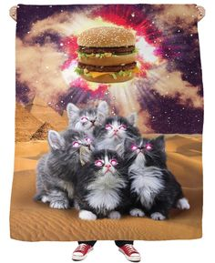 Animal Worship Burger T-Shirt Adorable Kitten Cats Vibrant Galaxy T Shirt Men Women Casual Summer Style Tops For Women Men 3d T Shirts, Casual T Shirts, Funny Tshirts, Printed Shirts, T Shirt Women, T Shirts For Women, Harajuku, Galaxy T Shirt, Galaxy Cat