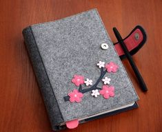Items similar to Refillable Felt Journal Cover, Fabric Planner Cover, Reusable Diary Cover Decorated with Sakura Branch, Gift for Her on Etsy Graph Notebook, Diy Notebook, Notebook Paper, Notebook Covers, Journal Covers, Planer Cover, Journal Format, Felt Phone, Felt Case