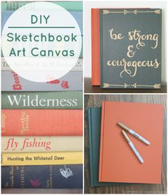 DIY Sketchbook Art Canvas- love this idea!
