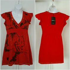 "Urban Chic top NWT Brand new with tags  Urban Chic top with orange threaded details, some beaded details,fun multi color thread around sleeves and hems 100%cotton Approx 26.5"" long Print will vary on each top Tops"