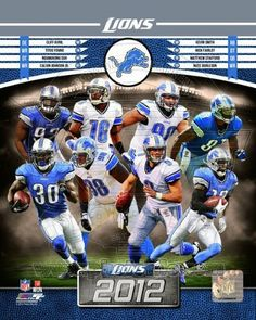 Detroit Lions 2012 NFL Team Composite Photo 8x10 by Photo File. $6.99. Custom cropped on high gloss photographic paper, this officially licensed 8x10 composite color photo celebrates the 2012 Detroit Lions with action photos of Cliff Avril, Matthew Stafford, Calvin Johnson, Kevin Smith, Ndamukong Suh, Nick Fairley, Nate Burleson, and Titus Young.  Official Lions, NFL and NFLPA Logos as well as numbered Official NFL Licensing Hologram appear upon photograph.  This is not a...