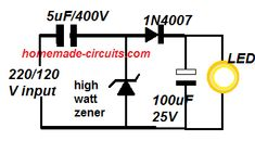 simple led driver using high current zener diode Simple Electronics, Electronics Components, Electronics Projects, Electronic Engineering, Electrical Engineering, Simple Circuit, Electrical Projects, Circuit Projects, Circuit Diagram