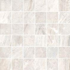 Hymond Mosaik Flysch Nacar är en matt grå och beige marmorerad mosaik av granitkeramik från spanska Vives. Mäter 300x300 mm, och användas inne och utomhus.