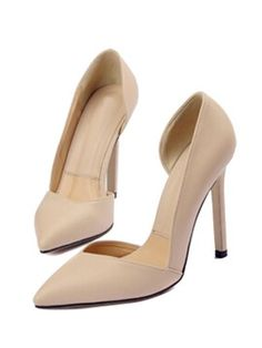 Apricot Pointed High Heels - Choies.com