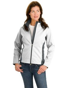 4809b866f Port Authority Ladies Two-Tone Soft Shell Jacket White/Graphite 391 Anvil  Ladies' Sheer Scoop-Neck Tee