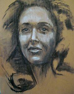 """Leila, charcoal on cardboard 16x20"""" www.rimamuna.com"""