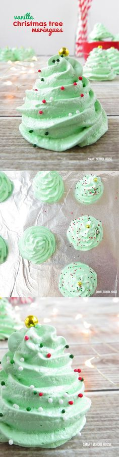 Vanilla flavored Christmas Meringue Cookies. This is the recipe for Christmas tree meringues. Easy dessert! MUST TRY -