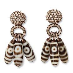 HEMMERLE EARRINGS - antique dzi-beads #tibet #goodluckcharm #brown diamonds (=)