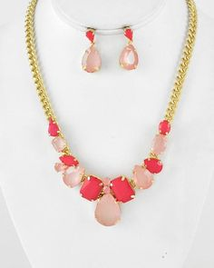 Gold Tone / Pink Mix Acrylic / Lead Compliant / Necklace & Post Earring Set