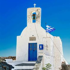 Photo from @kostasboukou! Greek flag against blue sky!  #Serifos #Cyclades! Small in size and white in colour the picturesque church of Agios Konstantinos (St. Constantine) was renovated in 1928.  Send your travelstory... Link in bio!!!  Tag your best travel photos with #the_daily_traveller  #Greece #ig_greece #instagreece #wu_greece #lifo #greekislands #athensvoice #travel_greece #visitgreece #gf_greece #igers_greece #greecestagram #loves_greece #igersgreece #insta_greece #greecelover_gr…