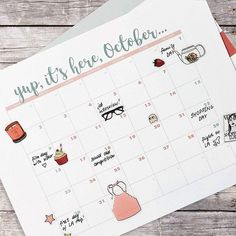 Do you have plans for October? Write them down into our cute October calendar 💕 digital download on Etsy 🙌🏻 October Calendar, How To Memorize Things, Photo And Video, Writing, How To Plan, Digital, Day, Instagram, Design