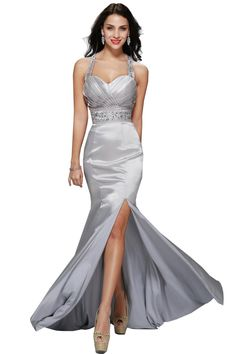 cb7cc2127 Womens Silver Mrtallic Mermaid Formal Mermaid Evening Gown Bridesmaid Prom  Dres >>> Learn more reviews of the item by visiting the link on the image.