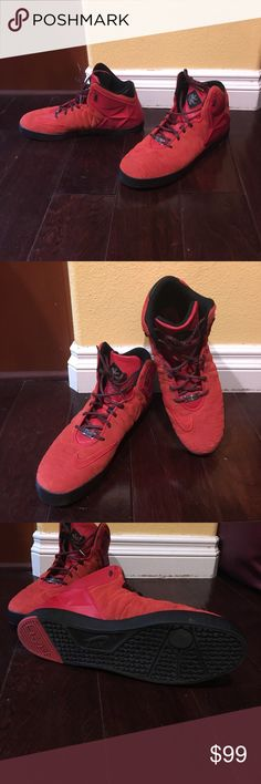 Nike Lebrons high tops Men's red Nike Lebrons, size 14, worn only a few times in EUC.  From a smoke-free home. Nike Shoes Athletic Shoes