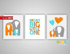 Printable Aqua Blue, Grey, Orange Nursery Art Prints, Elephant, Heart, Dream Big Little One, 8x10 JPG files ( 004s810 )  ( CC089 )