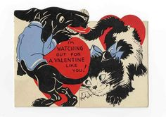 Vintage Valentine with dachshund and cat in red, black and sky blue