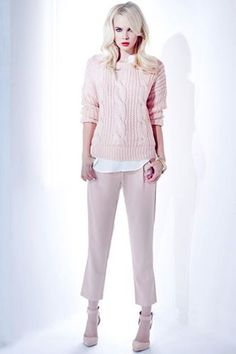 No-Brainer Guide To Perfect Spring Style #refinery29  http://www.refinery29.com/transitional-clothing#slide-16  Try a monochrome, pastel outfit for the office. Seriously, go ahead. This pairing of a cable-knit sweater and cropped pant in a soft blush is a work-appropriate way to show off your personal style. LuLu*s Willing and Cable Knit Peach Sweater, $42, available at LuLu*s</...