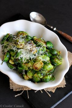 Sautéed Lemon & Garlic Brussels Sprouts Recipe...An easy, delicious side dish!   cookincanuck.com #healthy