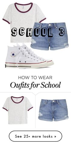 """School3"" by woopwoo on Polyvore featuring H&M, Topshop and Converse"