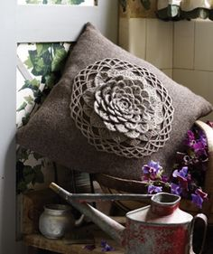 Crochet Flower Cushion Rowan FREE pattern, yum: direct pdf here: http://www.woolandbuttons.co.uk/userfiles/Crochet%20Flower%20Cushion1.pdf  thanks so xox