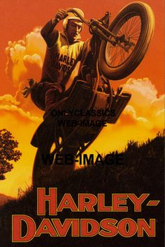 20's Motorcycle Hill Climb Racing Silhouette Graphic Art Poster Harley Davidson | eBay