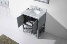 Virtu USA - ES-30030-WMSQ-GR - Winterfell 30 in. Bathroom Vanity Set Close Up Solid Wood Cabinets, Base Cabinets, Marble Vanity Tops, Marble Top, 30 Inch Bathroom Vanity, Square Sink, Bath Vanities, Classic Elegance, Vanity Set