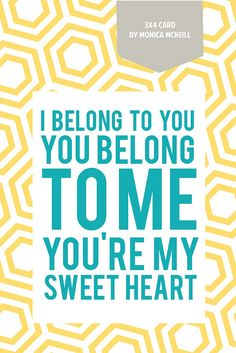 Free Download     I Belong to You Lyrics 3x4 Card for Project Life by MonicaMcNeill