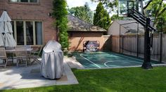 Basketball Court by Total Sport Solutions makes great use of otherwise unused space in the backyard Court surface is BounceBack ShockTower by SnapSports - Backyard Sports, Small Backyard Patio, Backyard Playground, Backyard Games, Backyard For Kids, Backyard Landscaping, Playground Ideas, Home Basketball Court, Sports Court