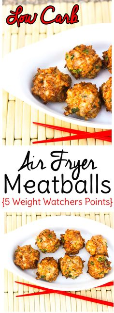 Make low carb meatballs in the air fryer with this simple recipe. Only 2 carbs per serving and 5 Weight Watchers points! #lowcarb #keto #airfryer #weightwatchers via @sweettmakes3