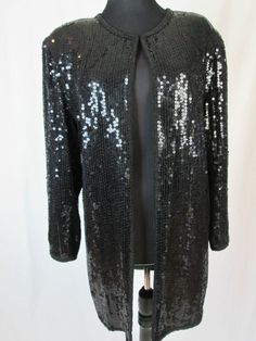 Ann Taylor Long Black Sequin Jacket Pure Silk Coat Size M #AnnTaylor #BasicJacket