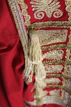 Close up photos on embroidery on replica Serbian Ethnic dress