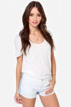 Blank NYC Little Queenie White and Blue Jean Shorts at LuLus.com!