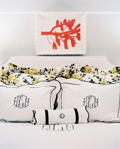 """""""This is not really the time to mix and match styles. A heart shaped Victorian box would be beautiful monogrammed in a fancy script, while modern hotel bedding would call for a clean, block font."""""""
