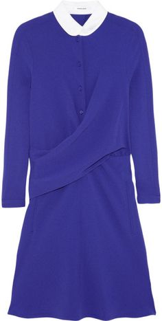 Carven Crepe Shirt Dress in Blue (violet) - LystCrepe. Peter pan collar, button-fastening cuffs, draped waist, side welt pockets, fully lined. Button fastenings along front, concealed zip fastening at side. 68% triacetate, 32% polyester; lining: 100% cupro. Dry clean. Color: violet