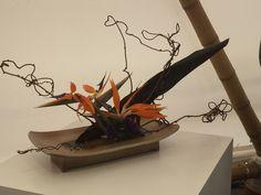 Composition de strelitzia (oiseau de paradis) type Ikebana Ohara