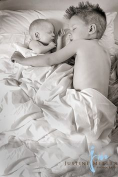 Brothers - nothing about this is a good idea. Babies should not sleep in adult beds with siblings. Children have no spatial awareness when asleep. No pillows either.