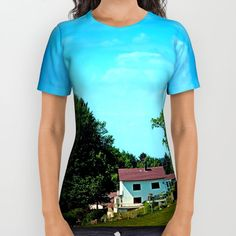 Buy Farm, trees, clouds - what else? All Over Print Shirt by Patrick Jobst. Worldwide shipping available at Society6.com. Just one of millions of high quality products available. American Apparel, Printed Shirts, Clouds, Unisex, Cotton, Mens Tops, Trees, Stuff To Buy, Shopping