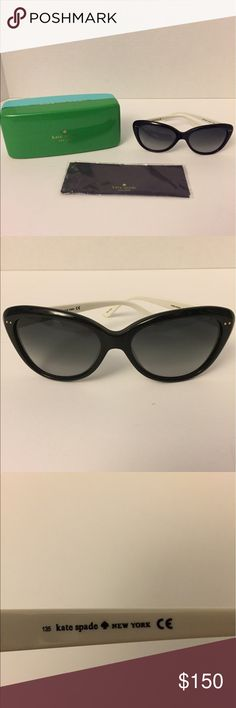 Kate Spade Angelique Black and White Sunglasses Kate Spade Angelique Black and White Sunglasses.  Comes with Hard Case and Cleaning Cloth.  No Scratches - Like New!! kate spade Accessories Sunglasses