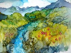 Hey, I found this really awesome Etsy listing at https://www.etsy.com/listing/92687652/alcohol-ink-landscape-print-by-maure