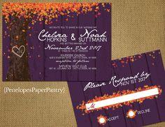 Elegant Rustic Fall Wedding Invitationsoak By Penelopespaperpantry