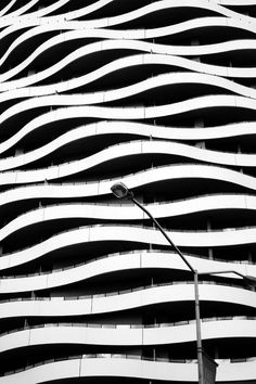 Undulating black and white wall exterior